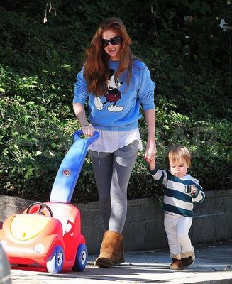 Isla fisher with olive out in LA.sacha baron